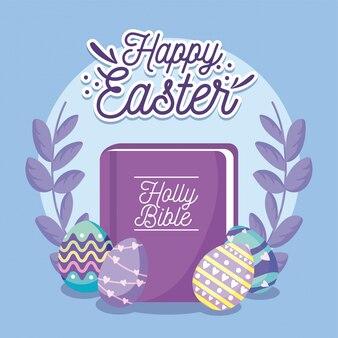 Wesołych świąt wielkanocnych z pisma świętego, pisanek i wieńca dekoracyjnego, wesołych świąt