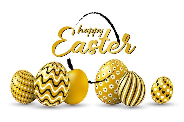 Wesołych świąt wielkanocnych z tekstem wesołych świąt z małym wystrojem w kształcie jajka