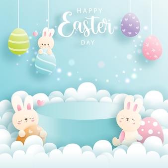Wesołych świąt wielkanocnych z uroczym królikiem i okrągłym podium