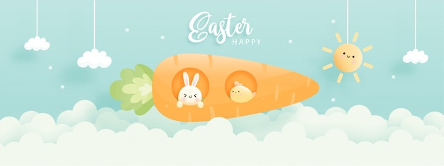 Wesołych świąt wielkanocnych z uroczym królikiem, kurczakiem i rakietową marchewką.