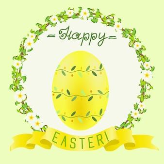 Wesołych świąt wielkanocnych z żółtym malowanym jajkiem i złotą wstążką