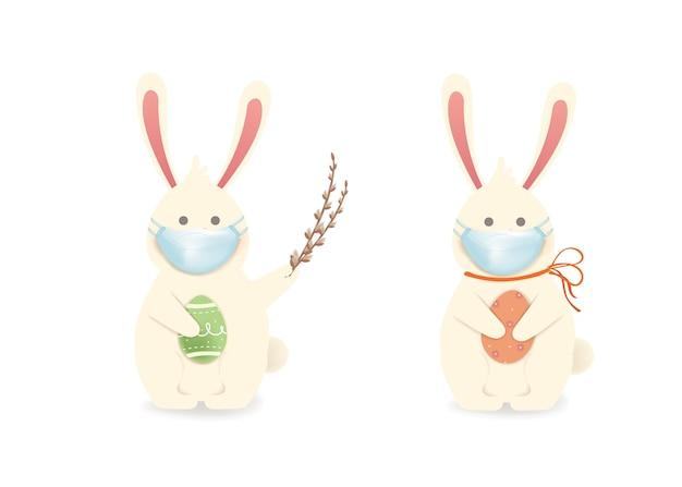 Wesołych świąt wielkanocnych. zajączek wielkanocny z maseczką medyczną, jajka. ładny, zabawny królik kreskówka z jajkiem paschalnym na białym tle. ilustracja.