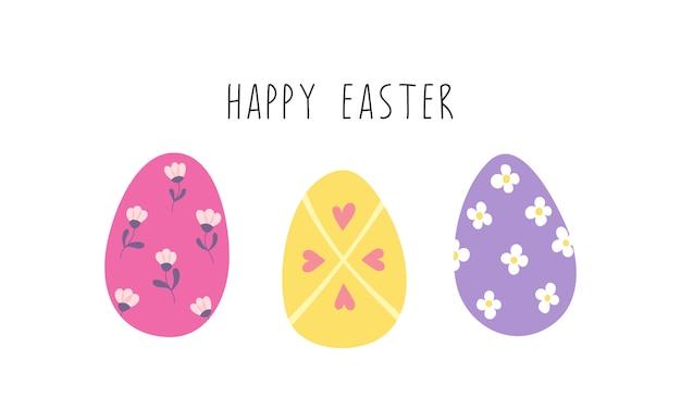 Wesołych świąt wielkanocnych, zdobione kolorowe jajka.
