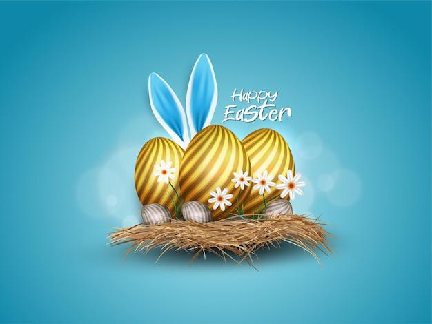 Wesołych świąt wielkanocnych ze złotym jajkiem i uszami królika