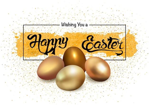 Wesołych świąt wielkanocnych ze złotymi jajkami