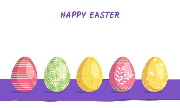 Wesołych świąt wielkanocnych zestaw jajek o różnej fakturze i świątecznych elementach dekoracyjnych