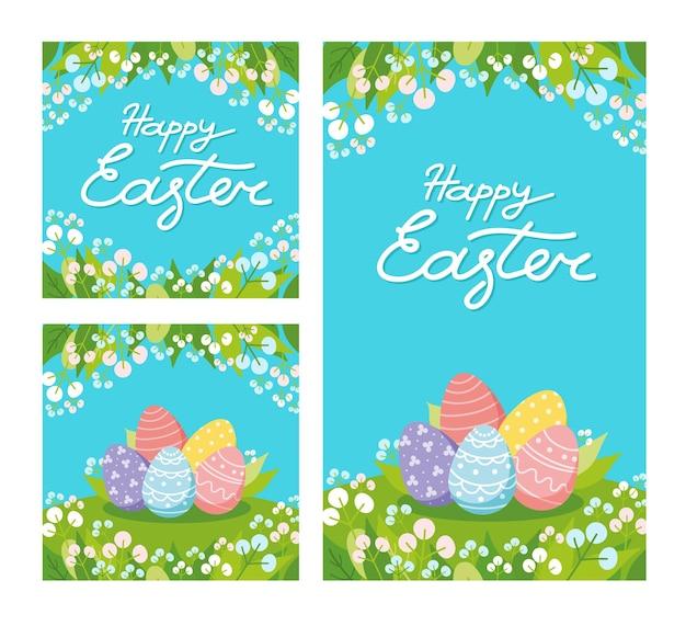 Wesołych świąt wielkanocnych. zestaw kart okolicznościowych, plakatów, banerów sprzedaży. płaska ilustracja wektorowa z napisem strony, jajkami, kwiatami i liśćmi