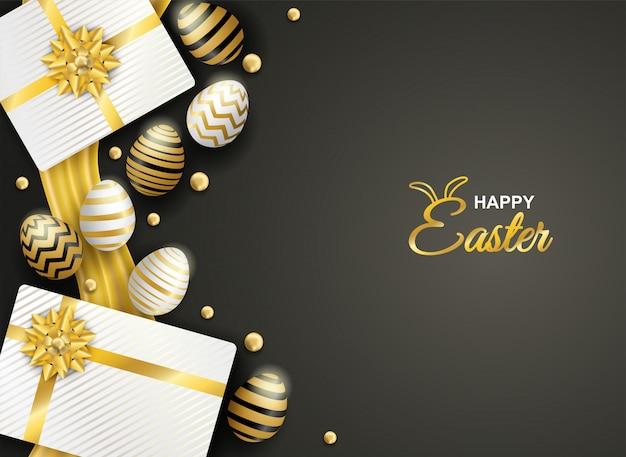 Wesołych świąt wielkanocnych. złote i białe pisanki i pudełko na czarnym tle.
