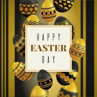 Wesołych świąt wielkanocnych złote i czarne jajka