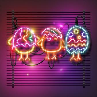 Wesołych świąt wielkanocnych znak projekt światła. śliczny neonowy baner piskląt.