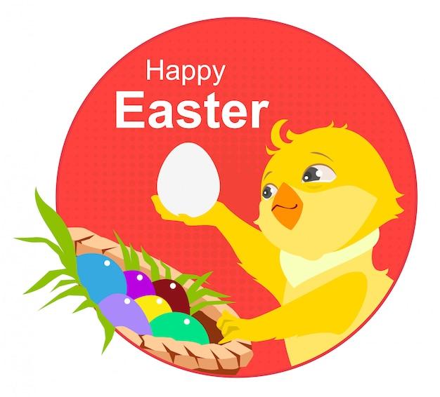 Wesołych świąt wielkanocnych. żółty kurczak i pisanki