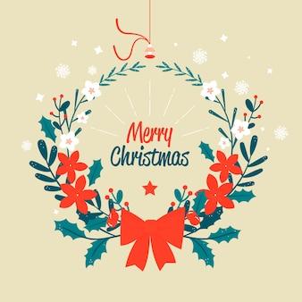 Wesołych świąt wieniec z czerwoną wstążką łuku