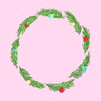 Wesołych świąt wieniec. zielone gałązki jodły i czerwone jagody. ilustracja wektorowa. szablon karty z pozdrowieniami projekt przyrody. zimowe święta bożego narodzenia
