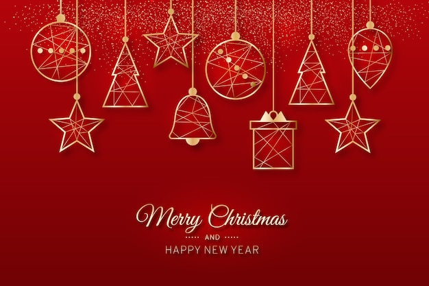 Wesołych świąt wiszące ozdoby choinkowe w odcieniach czerwieni