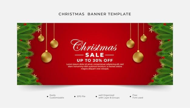 Wesołych świąt wyprzedaż transparent z zielonym drzewem, złotą piłką i czerwonym tłem