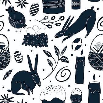 Wesołych świąt wzór. tło kurczaka, królika, kwiaty, ciasta i jajka.