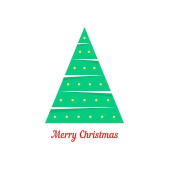 Wesołych świąt z abstrakcyjną choinką. koncepcja zabawy naklejki, gałąź drzewa futrzanego, jodła, świętować. na białym tle. płaski trend w stylu nowoczesny projekt kartki świątecznej ilustracji wektorowych