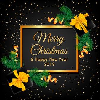 Wesołych świąt z choinką i złotym pudełkiem