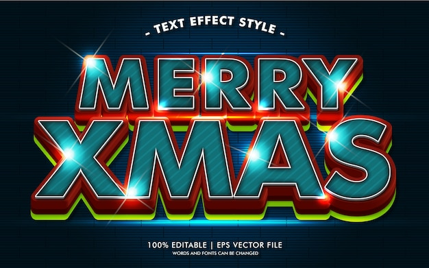 Wesołych świąt z efektami jasnego tekstu w stylu