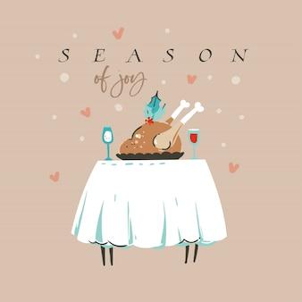 Wesołych świąt z kolacją z indyka i sezonem radości tekst na białym tle na pastelowym tle