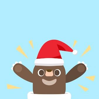 Wesołych świąt z kreskówka santa claus niedźwiedzia.