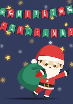 Wesołych świąt z małym mikołajem ciągnąc torbę prezentów.