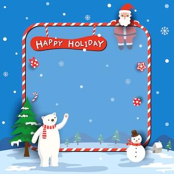 Wesołych świąt z mikołajem i niedźwiedziem polarnym na niebiesko ramki