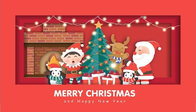Wesołych świąt z mikołajem i przyjaciółmi na boże narodzenie w tle, ilustracja w stylu cięcia papieru i rzemiosła.