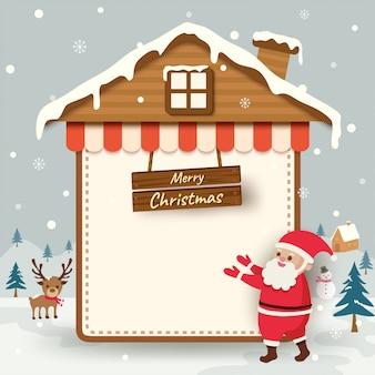 Wesołych świąt z mikołajem i rama domu na tle śniegu.