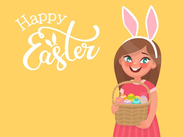 Wesołych świąt z napisem i dziewczyną z uszami królika, która trzyma kosz z jajkami. szablon na gratulacje z okazji wakacji. w stylu kreskówki