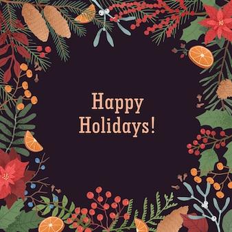 Wesołych świąt z owocową i kwiatową ramką