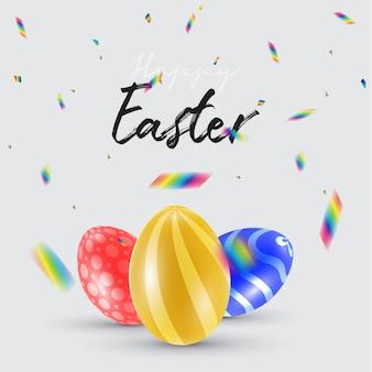 Wesołych świąt z pięknymi kolorowymi jajkami 3d i konfetti.