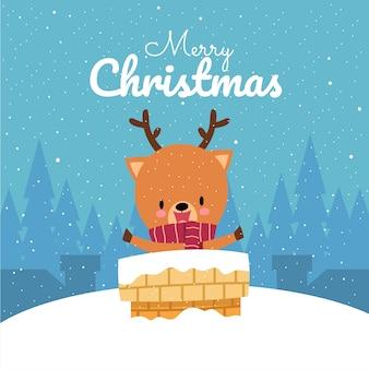 Wesołych świąt z ręcznie rysowane jelenia ładny kawaii w czerwonym szalikiem