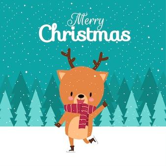 Wesołych świąt z ręcznie rysowanym ślicznym jeleniem kawaii z czerwonym szalikiem na łyżwach