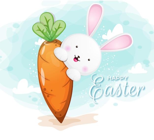 Wesołych świąt z uroczym króliczkiem i marchewką na wielkanoc
