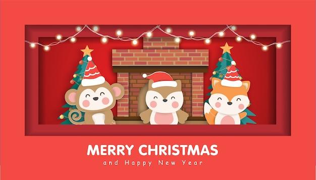 Wesołych świąt z uroczymi zwierzętami na boże narodzenie w tle.