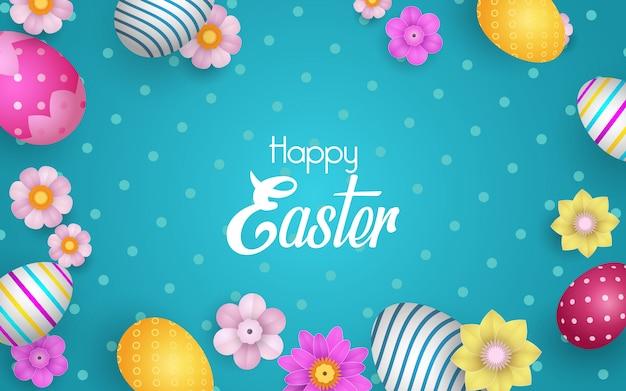 Wesołych świąt z zdobionymi jajkami i kwiatami.