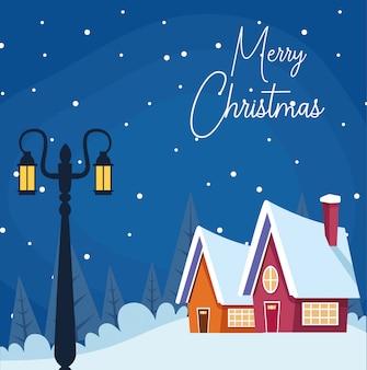 Wesołych świąt z zimową scenerią z latarnią i domami
