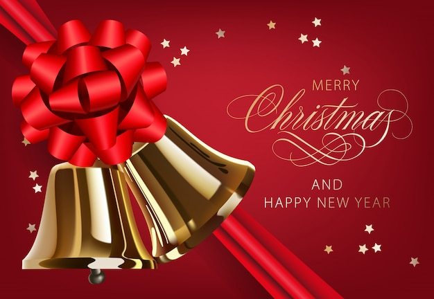 Wesołych świąt z złote dzwonki i pocztówka projekt wstążki