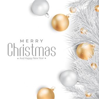 Wesołych świąt z złote i srebrne kule tło
