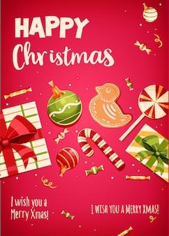 Wesołych świąt z życzeniami projekt retro. ilustracja wektorowa