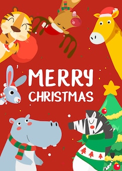 Wesołych świąt z życzeniami z tygrysem, królikiem, hipopotamem, żyrafą, deszczowcem i zebrą.