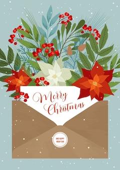 Wesołych świąt zaproszenie w liście. zimowy kwiat, jagody i rośliny w bukiecie