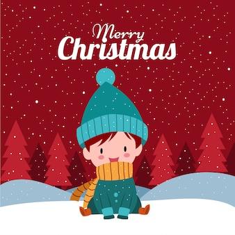 Wesołych świąt ze słodkim ręcznie rysowane kawaii chłopiec w stroju zimowym