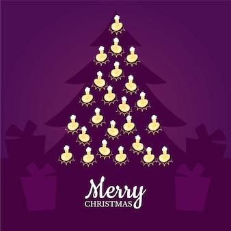 Wesołych świąt ze światłami sznurkowymi i sylwetką drzewa