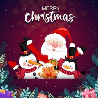 Wesołych świąt ze świętym mikołajem i różnymi pudełkami na prezenty na śniegu z domem i księżycem, jak.