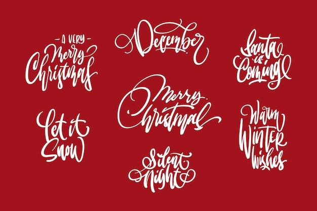 Wesołych świąt zestaw do projektowania napisów