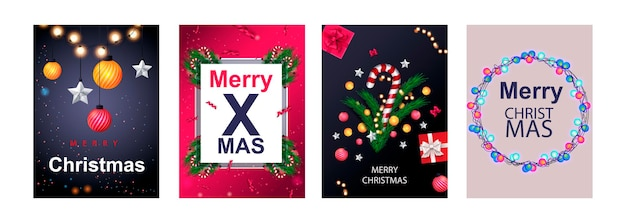 Wesołych świąt zestaw plakatów lub ulotek z życzeniami z gałęzi drzewa i bożonarodzeniową kulą