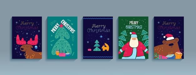 Wesołych świąt zestaw plakatów szablon kartki z życzeniami ulotki szczęśliwego nowego roku ilustracja kreskówka