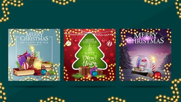 Wesołych świąt, zestaw pocztówek z życzeniami z prezentami świątecznymi. kartki świąteczne gotowe do druku